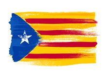 Catalonia colorful brush strokes painted flag. Catalonia blue estelada colorful brush strokes painted national flag icon. Painted texture Stock Photo