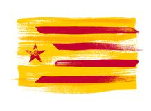 Catalonia colorful brush strokes painted flag. Stock Images