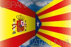 Catalonia contra bandeiras de spain Fotografia de Stock
