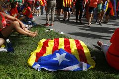 Catalonia Diada in Barcelona city relaxing assistants. Citizens coming from all around Catalonia and carrying banners or flags celebrate in Barcelona their Diada stock photos