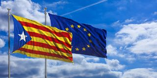 Catalonia and EU flags on blue sky background. 3d illustration. Catalonia and European Union flags waving on blue sky background. 3d illustration Stock Image