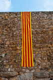 Catalonia flag at ancient wall Royalty Free Stock Photography