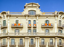 Catalonia flag on balcanies of building, Barcelona Stock Photos