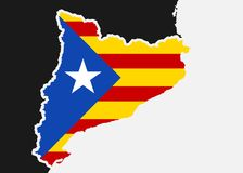 Catalonia flag. Catalan flag and territory of Catalonia. Independent and autonomous country and state with borders Royalty Free Stock Photo