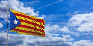 Catalonia flag waves under the blue sky with many white clouds. 3d illustration. Catalonia flag waves proudly under a blue sky with many white clouds. 3d Stock Images