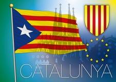 Catalonia flaga Fotografia Royalty Free