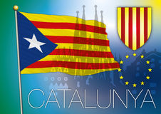 Catalonia flagga Royaltyfri Fotografi