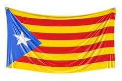 Catalonia flagga som hänger på väggen, 3D Fotografering för Bildbyråer