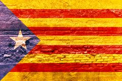 Catalonia flagga som målas på en tegelstenvägg illustration 3d Royaltyfri Illustrationer
