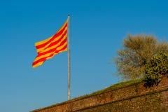 Catalonia flagga som vinkar på vinden Royaltyfria Bilder