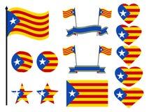 Catalonia flaggauppsättning Samling av den symbolhjärta och cirkeln vektor stock illustrationer