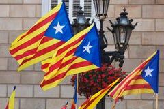 Catalonia flags. With blue estelada in cityspace Stock Photo