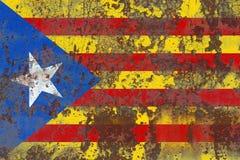 Catalonia grunge flag, dependent territory flag. Old flag Stock Image
