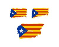 Catalonia grunge textured flaga Zdjęcia Stock