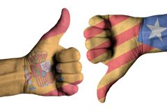 Catalonia on human male thumb up and down hands Royalty Free Stock Image