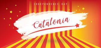 Catalonia Independence day. Independencia Catalonia text, red and yellow color stripes banner, colorful brush strokes painted national flag label. Painted Stock Illustration