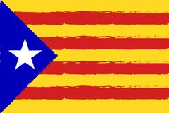 Catalonia Independence day. Catalonia red and yellow color stripes banner, colorful brush strokes painted national flag label. Painted texture. Independence day Royalty Free Illustration
