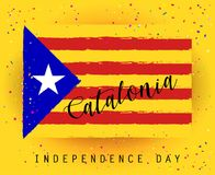 Catalonia Independence day. Catalonia text, red and yellow color stripes banner, colorful brush strokes painted national flag label. Painted texture Royalty Free Illustration
