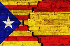 Catalonia independence movement versus Spain central government. Symbolic for political crisis between Spain and Catalonia. Catalonia independence movement Royalty Free Stock Photo