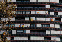 Catalonia independent flags on a residential building downtown Barcelona, Spain. Stock Images