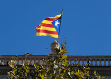 Catalonia independent flags on a terrace on top of a residential building downtown Barcelona, Spain. Royalty Free Stock Photo