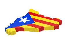 Catalonia Map Isolated. On white background. 3D render Stock Image