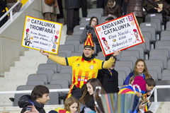 Catalonia National team supporters Stock Photos
