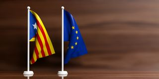 Catalonia och för europeisk union små flaggor, träbakgrund illustration 3d Vektor Illustrationer