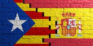 Catalonia och Spanien sjunker, bakgrund för tegelstenväggen illustration 3d Arkivfoton