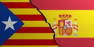 Catalonia och Spanien sjunker, bruten väggbakgrund illustration 3d Royaltyfria Bilder