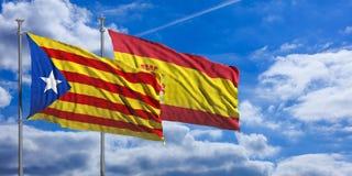Catalonia och Spanien sjunker på bakgrund för blå himmel illustration 3d Royaltyfri Fotografi