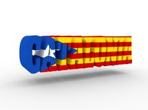 Catalonia ord som textureras av flaggan av Cataloniaen Royaltyfri Illustrationer