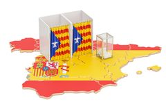 Catalonia referendum concept, voting booths with flag and ballot. Box on the Catalonian map. 3D rendering isolated on white background Stock Photo