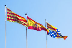 Catalonia, Spain and Badalona flags Stock Photography