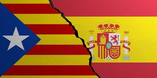 Catalonia and Spain flag, broken wall background. 3d illustration. Catalonia and Spain flag, cracked wall background. 3d illustration Royalty Free Stock Images