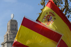 Catalonia and Spain flags Royalty Free Stock Photos
