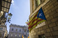 Catalonia and spain mixed flags symbol attempt secession of Barcelona Spain Royalty Free Stock Photography