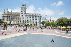 Catalonia Square in Barcelona, Spain. Royalty Free Stock Photo