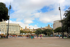 Catalonia Square in Barcelona, Spain Stock Photos