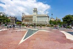 Catalonia Square Placa de Catalunya, Barcelona, Spain stock image