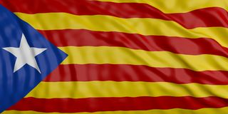 Catalonia vinkande flaggabakgrund illustration 3d Royaltyfri Illustrationer