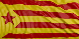 Catalonia vinkande flaggabakgrund illustration 3d Vektor Illustrationer