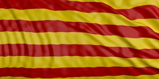 Catalonia vinkande flaggabakgrund illustration 3d Stock Illustrationer