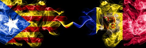 Catalonia vs Andorra, Andorran smoke flags placed side by side. Thick colored silky smoke flags of Catalonia and Andorra, Andorran.  vector illustration