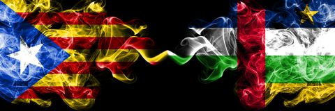 Catalonia vs Central African Republic smoke flags placed side by side. Thick colored silky smoke flags of Catalonia and Central. African Republic stock illustration