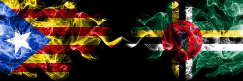 Catalonia vs Dominica smoke flags placed side by side. Thick colored silky smoke flags of Catalonia and Dominica.  stock illustration