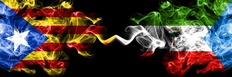 Catalonia vs Equatorial Guinea smoke flags placed side by side. Thick colored silky smoke flags of Catalonia and Equatorial Guinea.  vector illustration