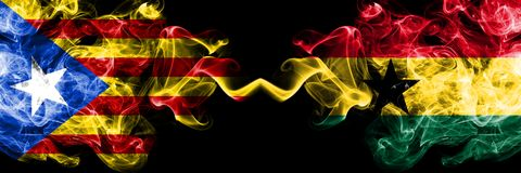 Catalonia vs Ghana, Ghanaian smoke flags placed side by side. Thick colored silky smoke flags of Catalonia and Ghana, Ghanaian stock images