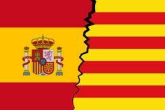 Catalonia vs Hiszpania - niezależność obraz royalty free
