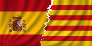 Catalonia vs Hiszpania - niezależność obrazy stock